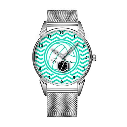 Mode wasserdicht Uhr minimalistischen Persönlichkeit Muster Uhr -667. personalisierter Volleyball; Aqua Green Chevron