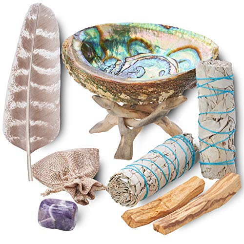 Smudging & Energy Cleansing Kit with Amethyst, White Sage, Palo Santo, Abalone Shell, Stand & Guide (Regular)