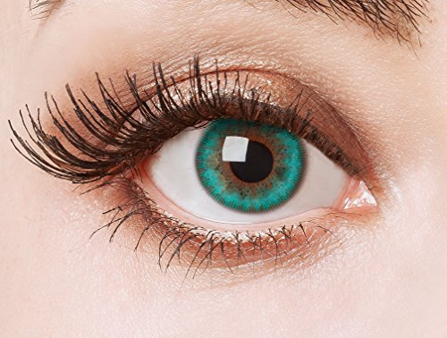 Aricona Farblinsen Aquamarine Kontaktlinsen ohne Stärke – grüne farbige Augenlinsen, natürliche Jahreslinsen für helle & dunkle Augen