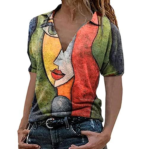 WAEKQIANG Summer Portrait Printing V Neck Short Sleeved Top Women's Casual Loose Fashion Large Size T Shirt Orange