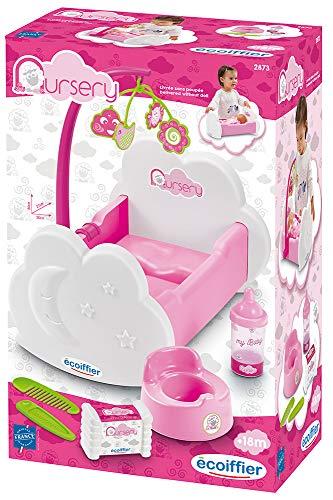 Ecoiffier 2873 - Cuna para muñecas con móvil y Muchos Accesorios para la muñeca, para muñecas de hasta 32 cm, a Partir de 18 Meses