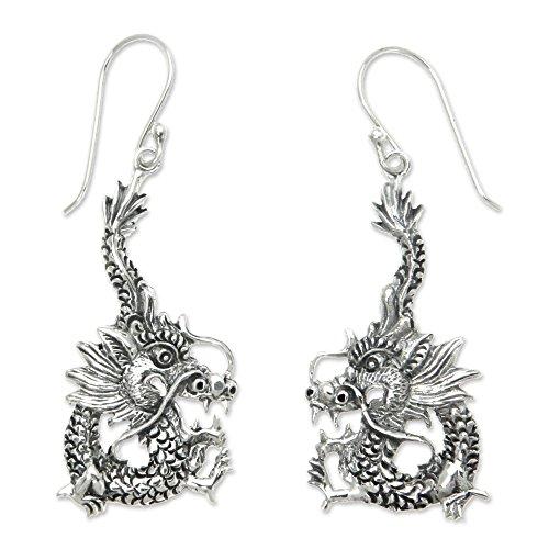 NOVICA Sterling Silver Dragon Dangle Earrings 'Dragon Splendor'