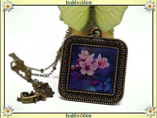 Halskette SAKURA Japan Blume Kirsche Fan rosa lila weiß Harz Messing Bronze personalisierte Geschenk Noel Geburtstag Hochzeit Gast Mutter Freund Muttertag danke Herrin