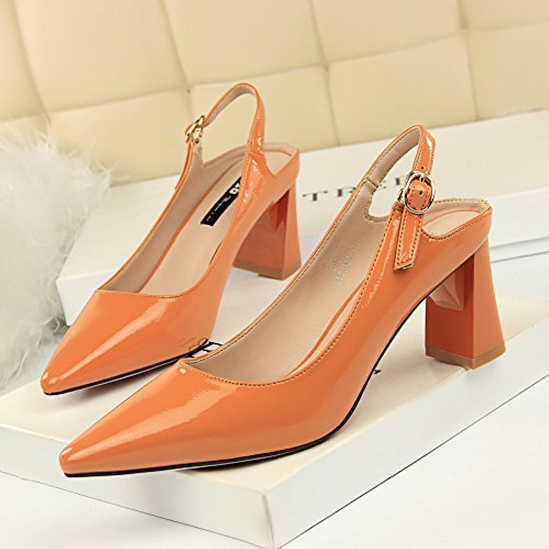 Xue Qiqi Einfach die Karriere von Frauen Schuhe mit hohen Abstzen leder Licht Farbe düsenspitze ausgesetzt sind, nach der Reise mit einem einzigen Schuhe Schuhe mit hohen Abstzen