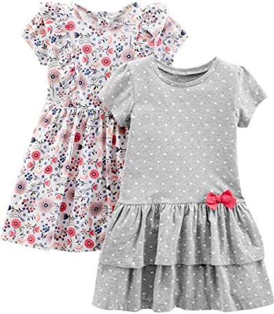 Simple Joys by Carter s Girls Toddler 2 Pack Short Sleeve and Sleeveless Dress Sets Gray Dot product image