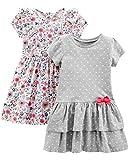 Simple Joys by Carter's Lot de 2 robes à manches courtes et sans manches pour bébé fille ,Gray Dot/Floral,US 3T (EU 98–104)