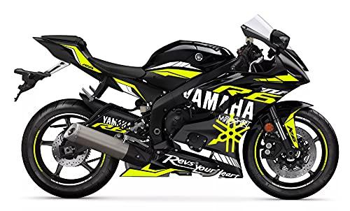 Motostick Graphics Kit de calcomanías compatible con R6 2017-2021 'Motosport 2' (negro/amarillo neón)