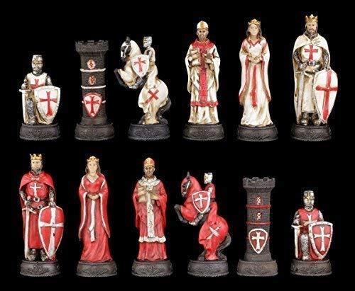 Schachfiguren Set - Kreuzritter Weiß und Rot - Ritter Schach Figuren