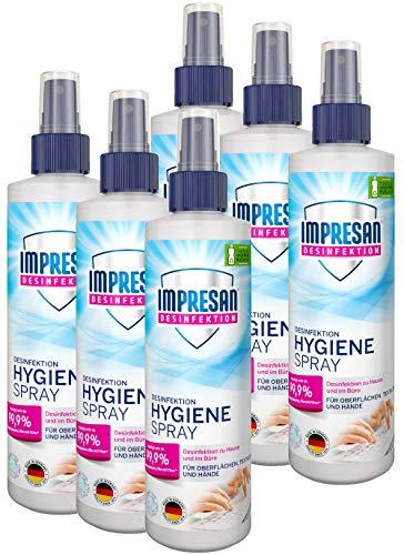 Impresan Hygiene-Spray: Desinfektionsspray für Oberflächen und Textilien - Desinfektions-Pumpspray - 6 x 250ml