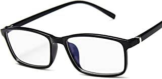 Haundry Unisex Glasses for TV and Computer Gaming Spectacle Oval Frame Transparent Eyeglasses Blue Coating Anti-reflective Anti UV Lens with Case