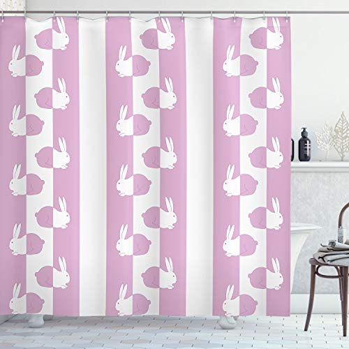 ABAKUHAUS Ostern Duschvorhang, Niedliche Häschen-Kinder, Seife Bakterie Schimmel & Wasser Resistent inkl. 12 Haken & Farbfest, 175 x 220 cm, Pink White