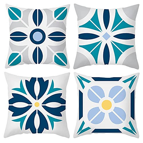 Modern Geometric Cushion Covers Pack of 4 Square Decorative Throw Pillow Covers Blue and White Pillow Cases for Sofa Couch 45x45 cm