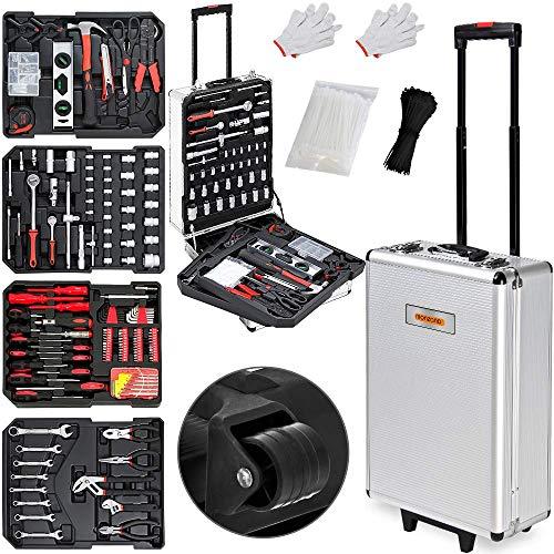 Monzana Werkzeugkoffer XXL gefüllt Set 899tlg Heimwerker Werkzeugkasten Werkzeugkiste Werkzeugtrolley silber