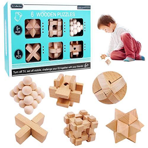 3D Cubo Puzzles de Madera,Rompecabezas Madera,Juguete Madera difícil,Juego Rompecabezas Madera,Juegos lógica Adultos,Juego Pensamiento lógico,Juguetes Madera IQ,Cubo de Rompecabezas (6)