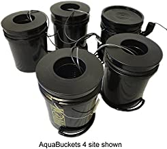 Hydro West AquaBuckets 5 Gallon 6 Site DWC Hydroponic System with Mixing Cell and 200 Mesh Filter