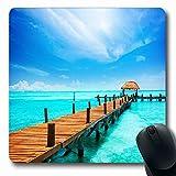 Alfombrillas para ratón para ordenadores Hotel de forma oblonga Blue Travel Paradise Vacaciones Turismo Tropical Tropic Resort Naturaleza Playa Parques Cancún Verano Antideslizante Alfombrilla de rató