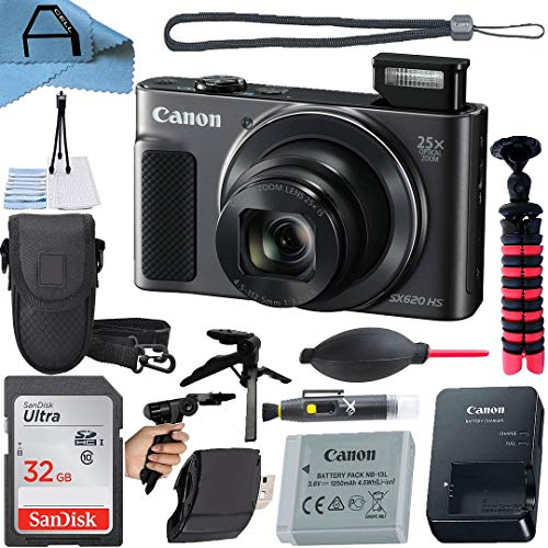 Canon PowerShot SX620 HS Digital Camera 20.2MP Sensor with SanDisk 32GB Memory Card, Case, Tripod and A-Cell Accessory Bundle (Black)