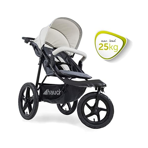 Hauck Runner, Jogger Style, 3-Wheeler, Pushchair with Extra Large Air Wheels, Foldable Buggy, For Children from Birth to 25kg, Lying Position - Silver Grey Hauck LONG USE - This 3-wheel pushchair is suitable from birth (in lying position or in combination with the 2in1 Carrycot) and can be loaded up to 25kg (seat unit 22 kg + basket 3 kg) ALL-TERRAIN - Thanks to the big air wheels - back 39cm diameter, front 30 diameter – as well to the swiveling and lockable front wheel, this jogger style pushchair can be used on almost any terrain COMFORTABLE - Thanks to adjustable backrest and footrest, sun canopy, large shopping basket, and height-adjustable push handle 5