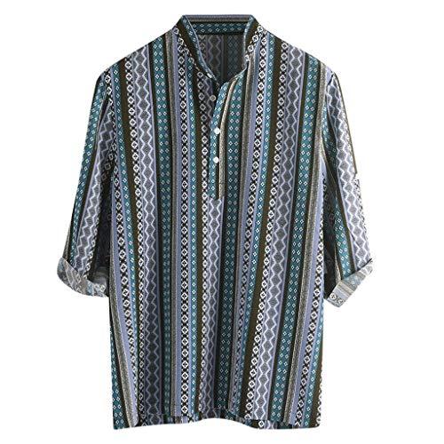 TAMALLU Herren Hemden Ethno Muster Männer Bedruckt Halbarm Henley T-Shirt Bluse Gestreift(Blau,XL)