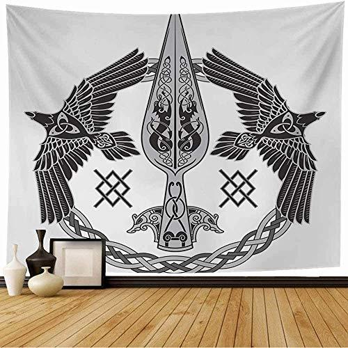 Tapestry Spear Nordic Memory Odin Dark Celtic Rune Gungnir Two Ravens One Signs Geri Wisdom Symbols Vintage Wall Tapestry Wall Decor Blanket for Bedroom Home Dorm 80x60 Inch