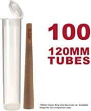 120MM Clear Doob Tubes | 100 Pack | Waterproof Airtight and Smell Proof Blunt Vial Container | Child Resistant with Squeeze Pop Tops | BPA-Free | Ideal for Storing King Size Pre Rolled Raw Cones