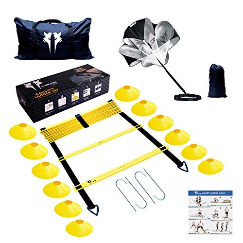 LYKAN FIT Agility Ladder Speed Parachute Speed Cones Training Kit | Premium Workout Equipment to Boost Your Speed and Stamina | Ultimate Kit for All Kinds of Sports to Improve Footwork Coordination