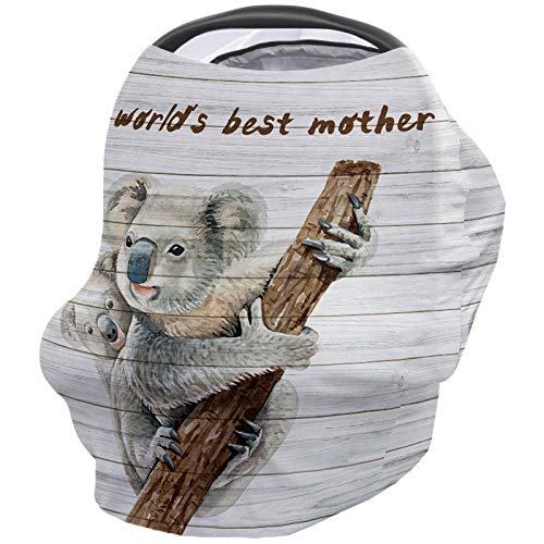 Baby Stroller Cover Breastfeeding Nursing Shawl, Soft Breathable Breastfeeding Towel for Infant Carseat Canopy, Shopping Cart, Highchair - World's Best Mother Cute Koala Mother and Child Retro Wooden