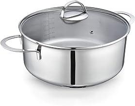 Eono by Amazon Cacerola grande baja para inducción de acero inoxidable con tapa de vidrio templado y apta para horno y lavavajillas, 28 cm, 6 L, TG-2811