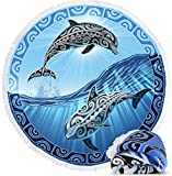 Microfiber Round Large Plush Beach Towel Blanket, 60' D with Fringe (Tribal Dolphins)