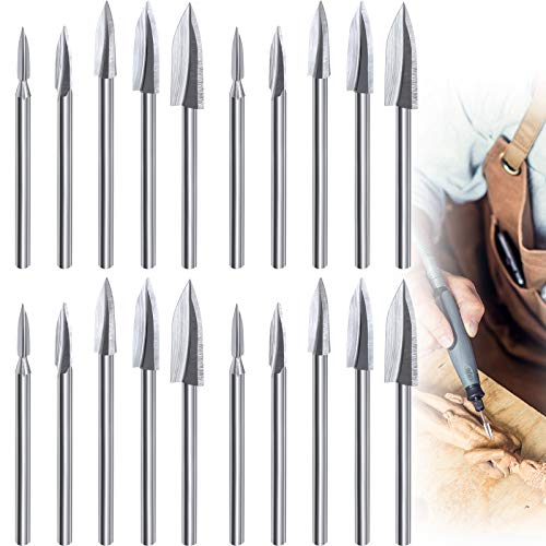 15 Pieces Wood Carving Engraving Drill Bit Woodworking Drill Bit DIY Wood Carving Tools Accessories for Rotary Tools