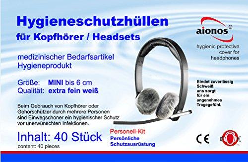 Kopfhörerschutzhüllen MINI 40 Stück - Hygieneschutz Kopfhörer - Kopfhörerschoner – Schutzbezüge für Headsets - Hygieneschutzhüllen für Kopfhörer - Headphone Cover- Kopfhörer Schutzhülle