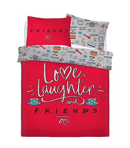 Todd Linens Friend Love Laughter Panel King Bed Duvet Quilt Cover Set