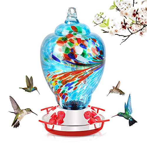 Rayhome Hummingbird Feeder for Garden Outdoors, Glass Bird Feeder,Colorful Garden Bird Feeder Easy to Attract Birds,Easy to Set Up