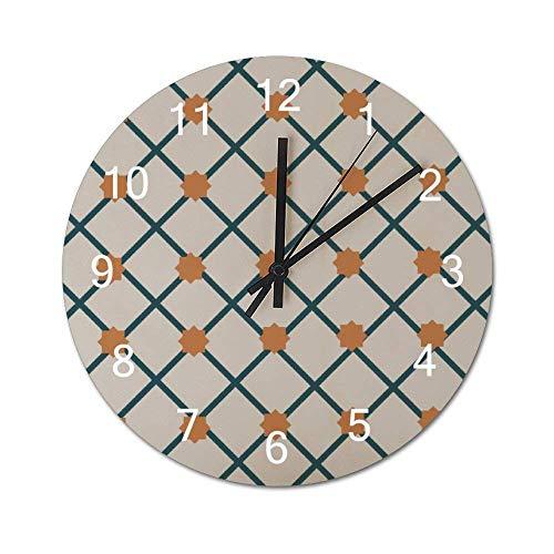 Reloj de pared de madera redondo rústico silencioso sin tictac de 10 pulgadas, diseño de simetría, azulejo de rombo, suelo cuadrado, decoración de pared de granja vintage para el hogar, la oficina, la