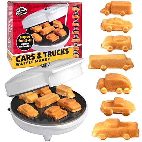 Car Mini Waffle Maker - Make 7 Fun, Different Race Cars, Trucks, and Automobile Vehicle Shaped Pancakes - Electric Non-Stick Pan Cake Kid's Waffler Iron