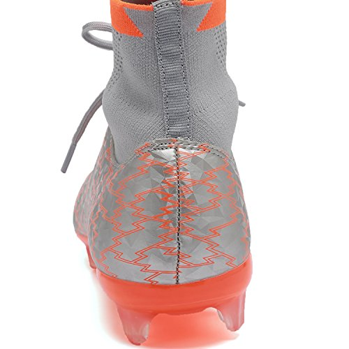 ANLUKE Men's Athletic Hightop Cleats Soccer Shoes Football Team Turf Orange 43