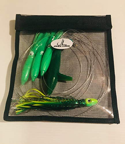 Jones Lures Green Daisy Chain with Bird Mahi Tuna Trolling Lure Fishing Offshore