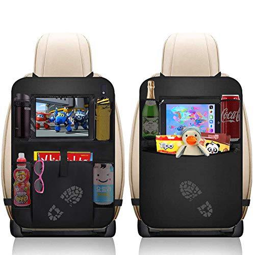 AVNICUD Car Backseat Organizer,Waterproof Car Back Seat Organizer for Kids, Universal Car Seat Back Protector Kick Mats with Clear 12'' Tablet Holder + 5 Storage Pockets