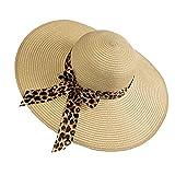 Soapow Sombrero de paja para mujer, sombrero de paja de ala ancha, sombrero de playa con lazo