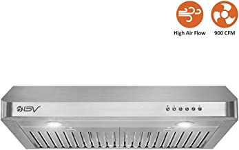BV Range Hood - 30 Inch 900 CFM Under Cabinet Seamless Stainless Steel Kitchen Range Hoods, Dishwasher Safe Baffle Filters w/LED Lights, Ducted Kitchen Exhaust Fan Hood