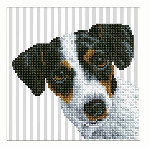 Pracht Creatives Hobby DD3-023 Diamond Dotz Hund, funkelndes Diamantenbild zum Selbstgestalten, ca. 23 x 23 cm groß, Malen mit Diamanten, neuer und kreativer Basteltrend, bunt