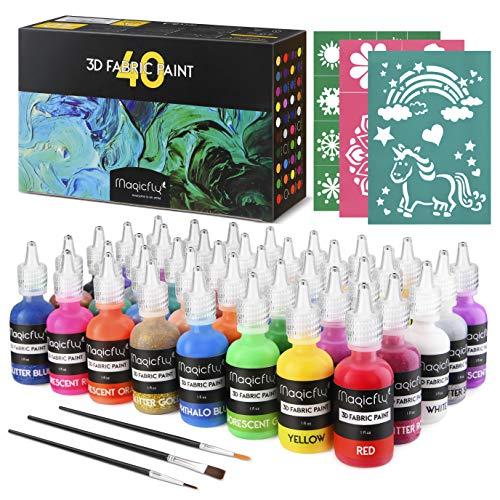 Magicfly Pintura Textil Permanente 40 Colores, 30ml, Pintura 3D para Tela, Pintura Inflable para Tejido, Vidrio, Cristal, Madera, Cerámica, Piedra, con 3 Plantillas y 3 Pinceles