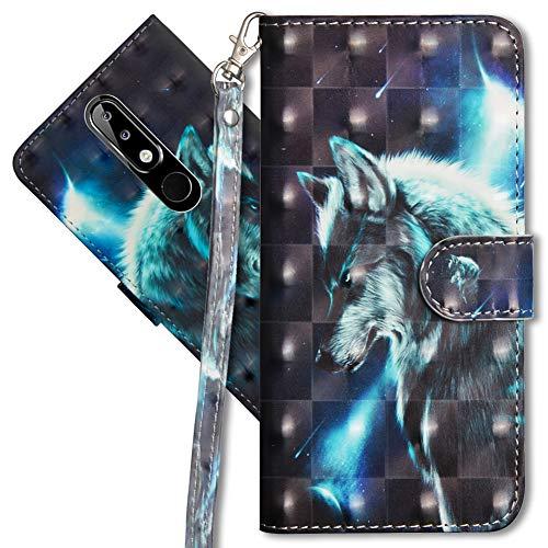 MRSTER Nokia 5.1 Plus Handytasche, Leder Schutzhülle Brieftasche Hülle Flip Hülle 3D Muster Cover mit Kartenfach Magnet Tasche Handyhüllen für Nokia 5.1 Plus 2018. YX 3D - Wolf
