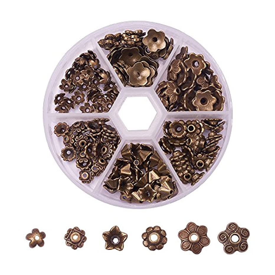 PH PandaHall 1Box About 180pcs Tibetan Alloy Flower Bead Caps in 6 Styles for Bead Components Antique Bronze
