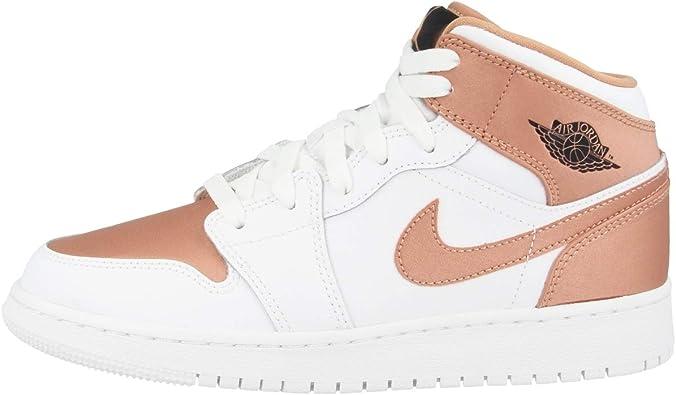 Nike Girls' Air Jordan 1 Mid (Gs) Basketball Shoes, White (White ...
