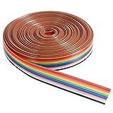 UEETEK 5M Cable de alambre de IDC de la cinta plana del color del arco iris de 10 Pin...