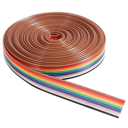 UEETEK 5M 10 Pin Regenbogen Farbe Flachband IDC Draht Kabel