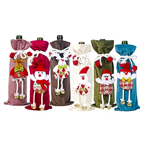 keepmore 6PCS Christmas decorations, three-dimensional cloth art doll, Christmas flannel red wine cover, champagne bottle cover