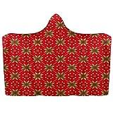 Manta con capucha para llevar de Navidad de punto retro rojo suave manta manta de lana coral Poncho cálido y acogedor para niños y adultos, regalo de 51 x 59 pulgadas