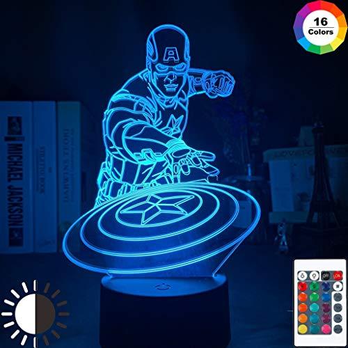 Marvel Captain America Figure Cool Night Light Lampada da tavolo a LED 3D per bambini regalo di compleanno decorazione da comodino